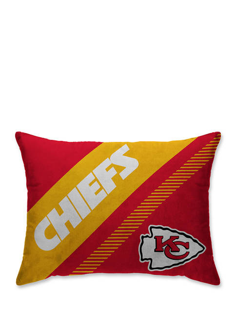 NFL Kansas City Chiefs Diagonal Microplush 20 in x 26 in Bed Pillow