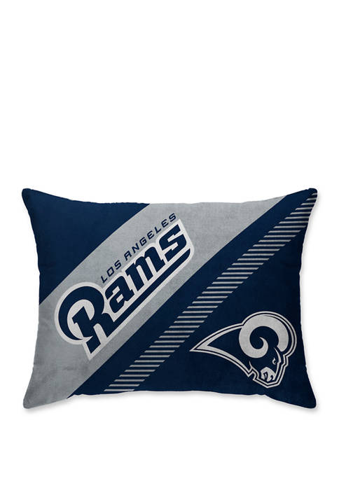 NFL Los Angeles Rams Diagonal Microplush  20 in x 26 in Bed Pillow