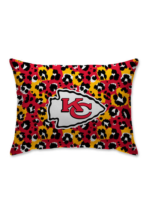 NFL Kansas City Chiefs Leopard Microplush 20 in x 26 in Bed Pillow