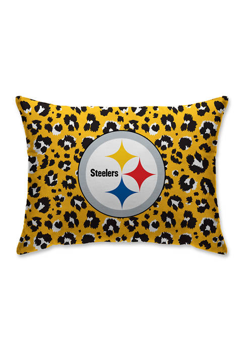 NFL Pittsburgh Steelers Leopard Microplush 20 in x 26 in Bed Pillow