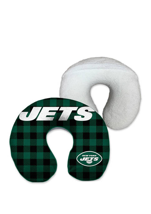 NFL New York Jets Buffalo Check with Sherpa Backing Memory Foam Travel Pillow