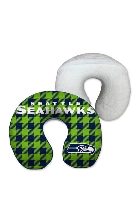 NFL Seattle Seahawks Buffalo Check with Sherpa Backing Memory Foam Travel Pillow