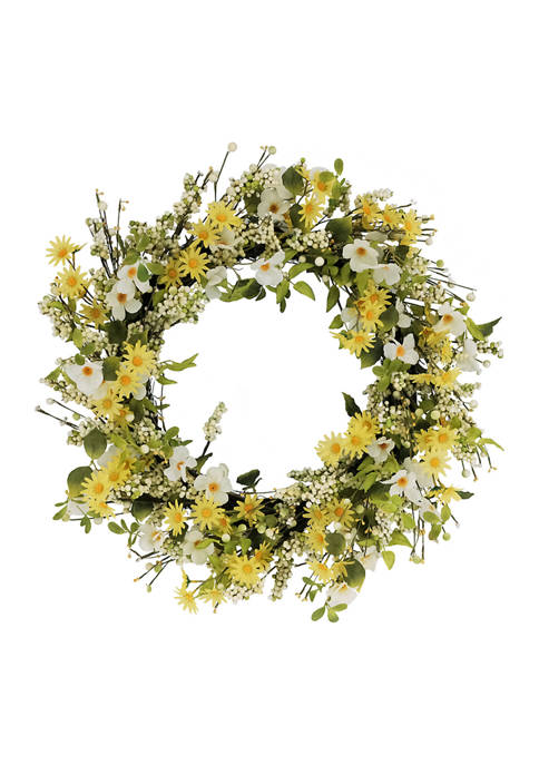 30 Inch Artificial Dogwood and Daisy Floral Spring Wreath