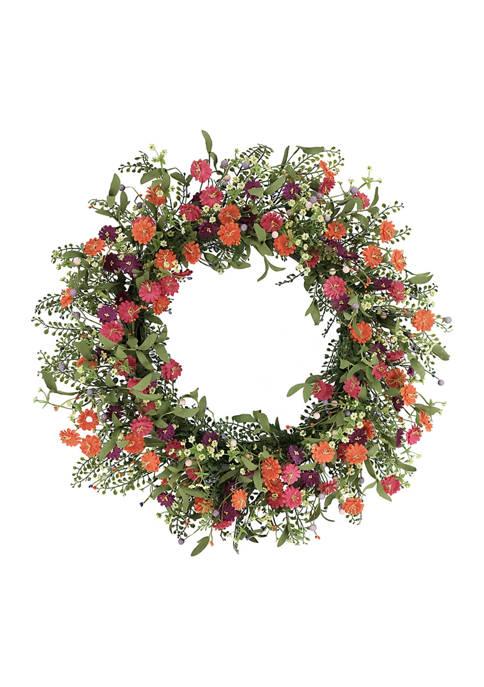 30 Inch Artificial Daisy Floral Spring Wreath