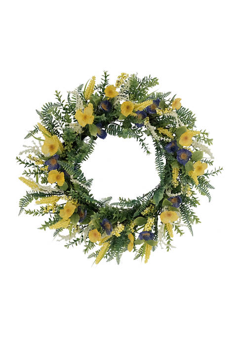 30 Inch Artificial Poppy Floral Spring Wreath