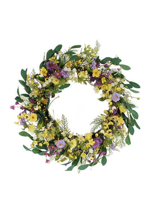30 Inch Artificial Dogwood and Daisy and  Poppy Floral Spring Wreath