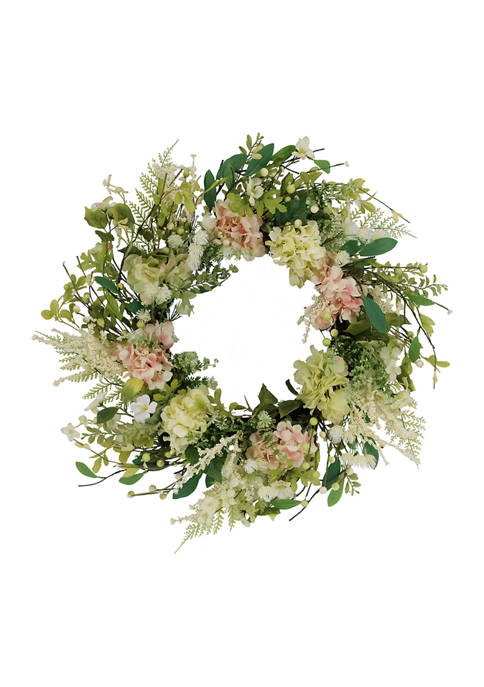 24 Inch Artificial Hydrangea and Dogwood Floral Spring Wreath