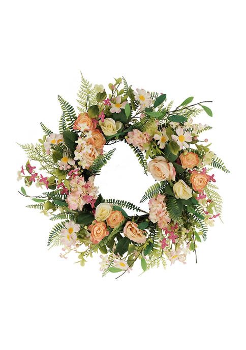 24 Inch Artificial Rose and Hydrangea and Floral Spring Wreath