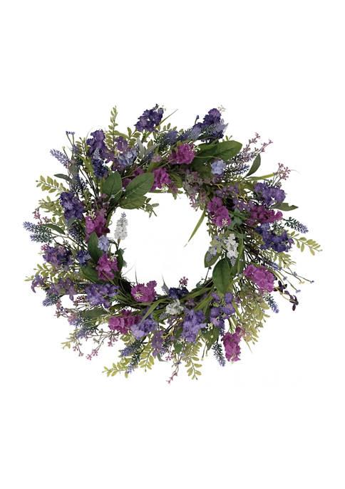 24 Inch Artificial Lavender Floral Spring Wreath