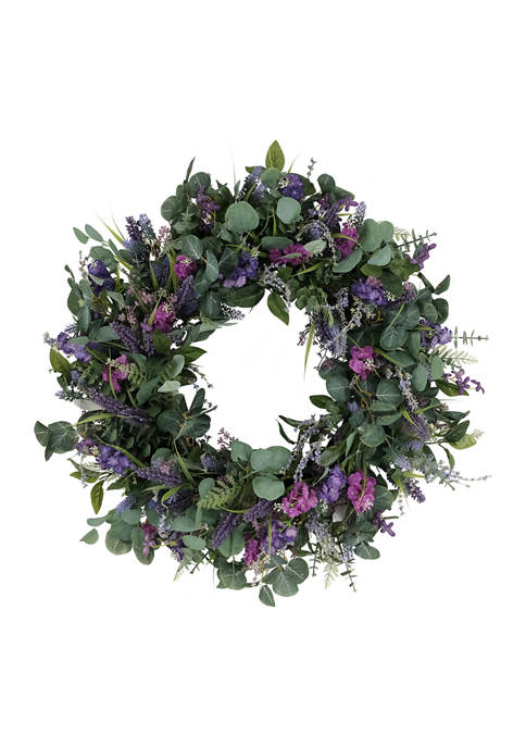 30 Inch Artificial Lavender and Eucalyptus Floral Spring Wreath