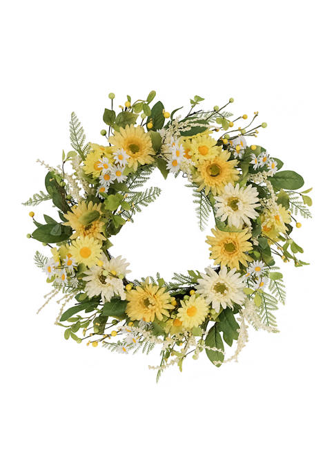 24 Inch Artificial Chrysanthemum and Daisy Floral Spring Wreath