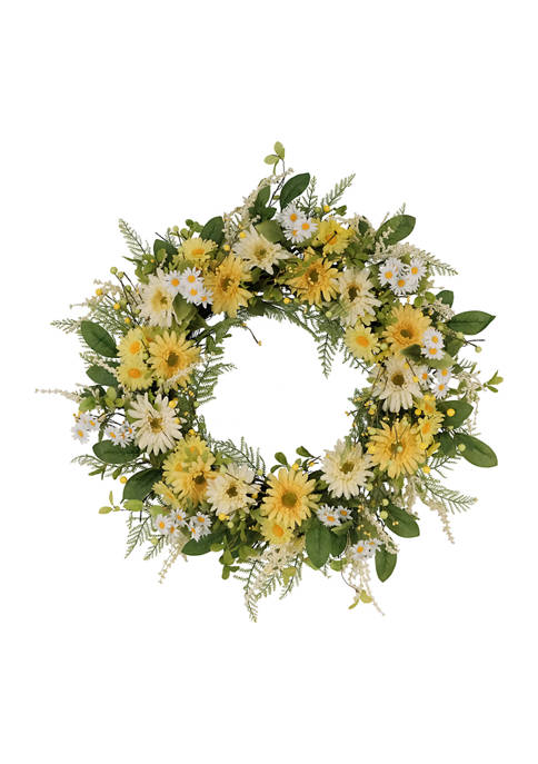 30 Inch Artificial Chrysanthemum and Daisy  Floral Spring Wreath