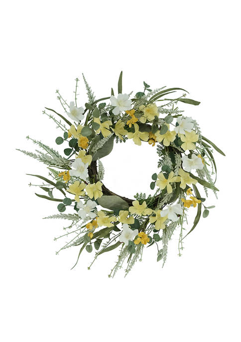 24 Inch Artificial Dogwood Floral Spring Wreath