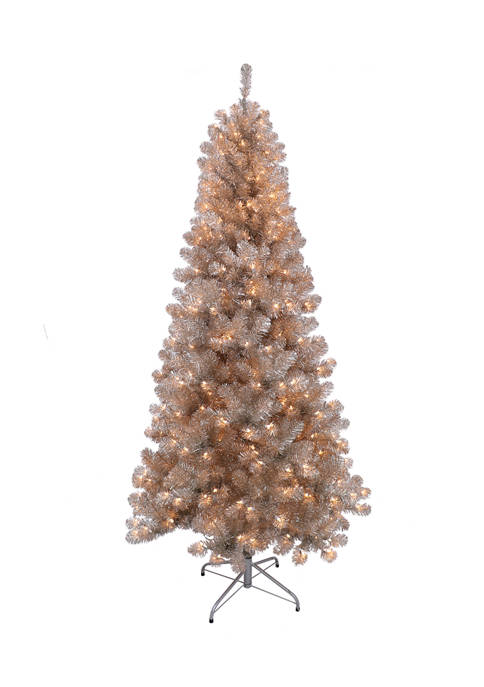 6.5 Foot Rose Gold Tinsel Artificial Christmas Tree with 400 UL Listed Lights