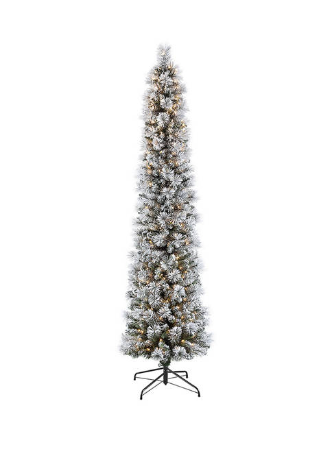 9 Foot Pre-Lit Flocked Patagonia Pine Pencil Artificial Christmas Tree with 450 UL- Listed Clear Lights