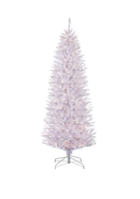 4.5 Foot Pre Lit White Pencil Franklin Fir Artificial Christmas Tree with 150 UL Listed Lights