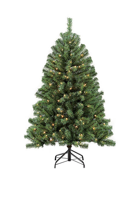 Puleo International 4.5 Foot Pre-Lit Noble Fir Artificial