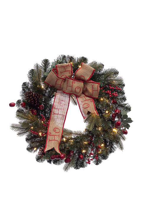 24 inch Pre-Lit Premium Decorated wreath with 35 Clear Incandescent Lights