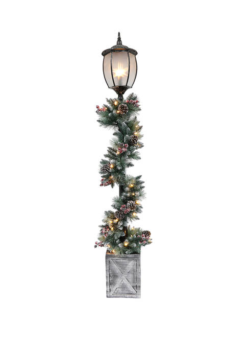7 Foot Lamp Post Decorated Garland with 50 UL-Listed Clear Lights