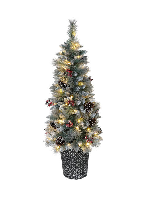 4.5 Foot Pre-Lit Potted Sterling Pine Tree with 70 UL-Listed Clear Lights