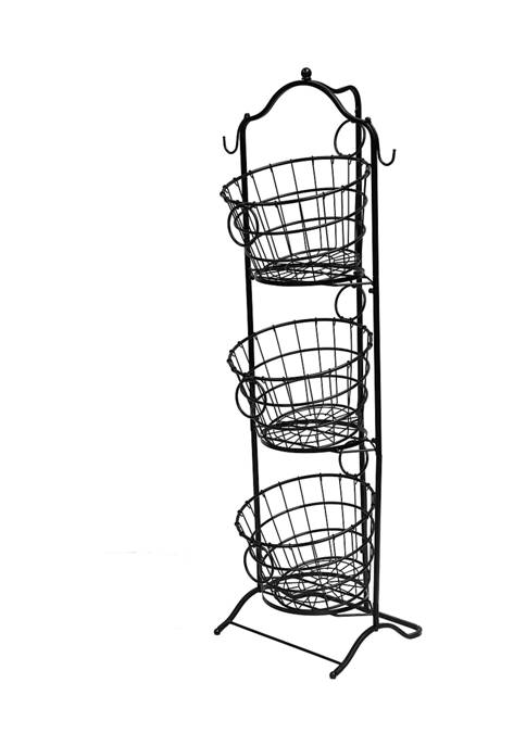3-Tier Wire Basket with Removable Tilted Baskets