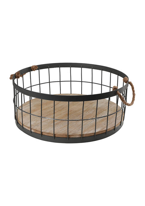 Set of 2 Wire Baskets with Wooden Base and Handles