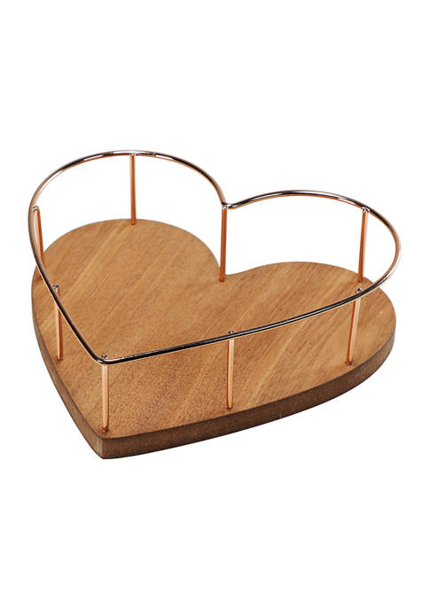 2.75 Inch Heart Shaped Tray with Wooden Base