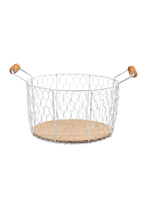 6.25 Inch Chicken Wire Basket with Wood Look Base with Handles
