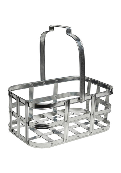 6 Inch Galvanized Metal Basket for Storage with Handle