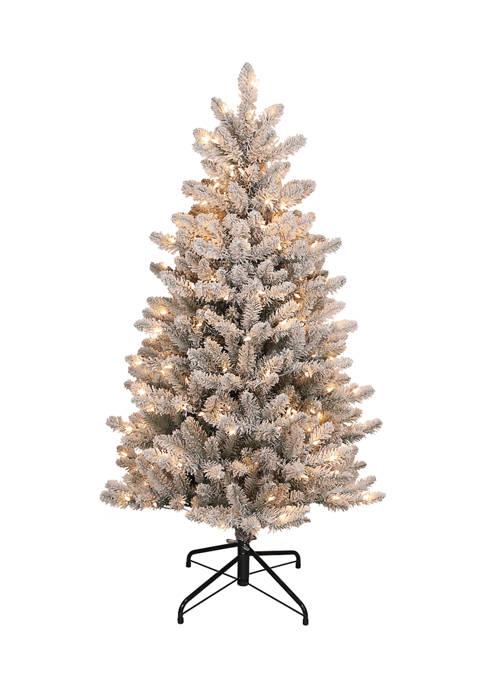 Pre-Lit Slim Flocked Franklin Fir Christmas Tree