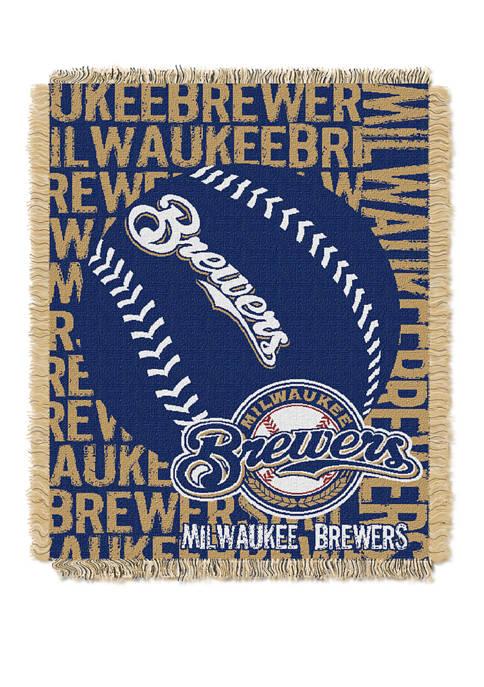 MLB Milwaukee Brewers Double Play Jacquard Woven Throw