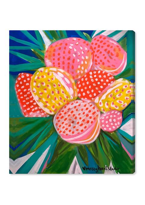 Lourdes Wackes - Pink Papaya Berries Party Food and Cuisine Wall Art Canvas Print