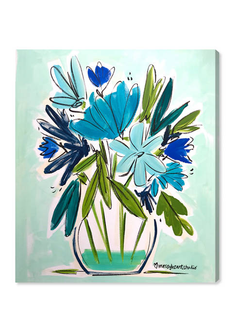 Lourdes Wackes - Blue Floral Jarra Floral and Botanical Wall Art Canvas Print
