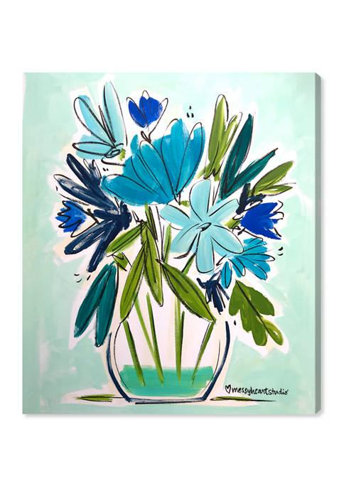 Lourdes Wackes - Blue Floral Jarra Floral and Botanical Wall Art Canvas Print