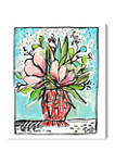 Lourdes Wackes - Pink Red Jarron Floral and Botanical Wall Art Canvas Print