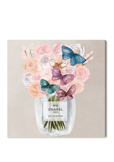 French Butterflies Floral and Botanical Wall Art Canvas Print