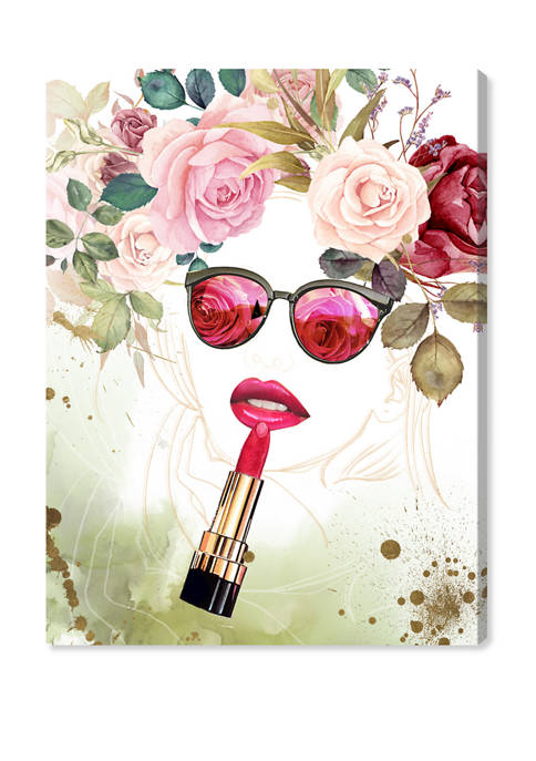 Oliver Gal Flower Lips Fashion and Glam Wall