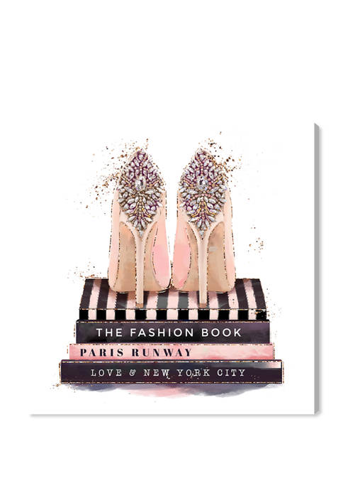 Fashion Books and Treasured Shoes Fashion and Glam Wall Art Canvas Print