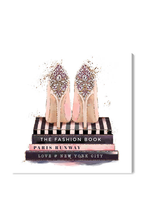 Fashion Books and Treasured Shoes Fashion and Glam Wall Art Canvas Print