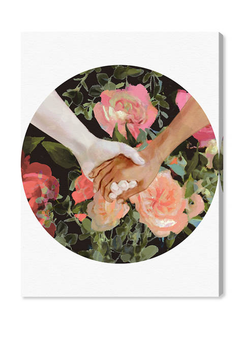 Romanticized Hands over Flowers Floral and Botanical Wall Art Canvas Print
