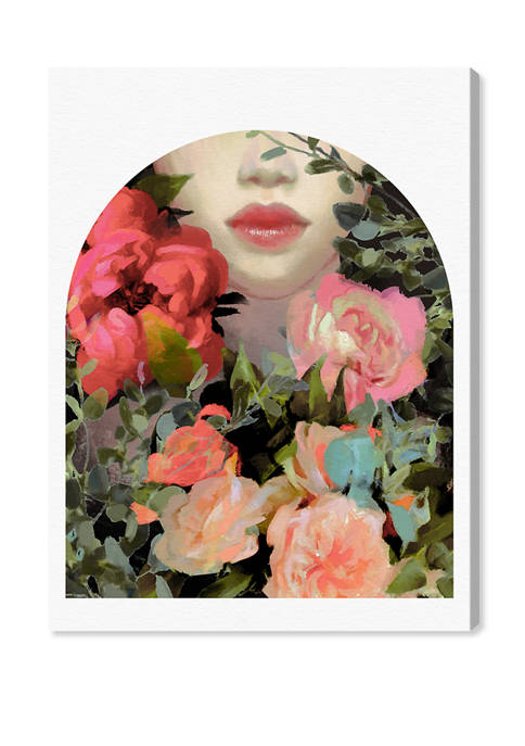 Romanticized Girl in Meadow Floral and Botanical Wall Art Canvas Print