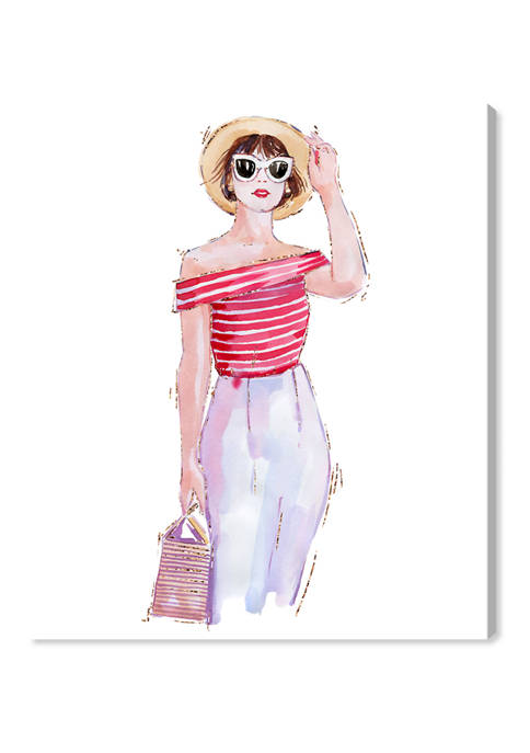 Summer Striped Girl Fashion and Glam Wall Art Canvas Print
