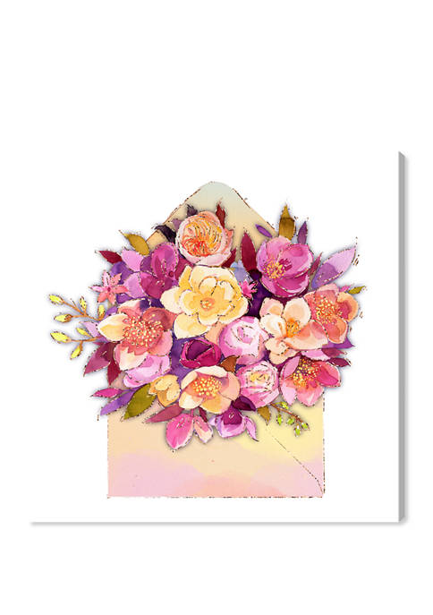 Romantic Envelope Floral and Botanical Wall Art Canvas Print
