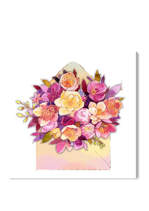 Romatic Envelope Floral and Botanical Wall Art Canvas Print