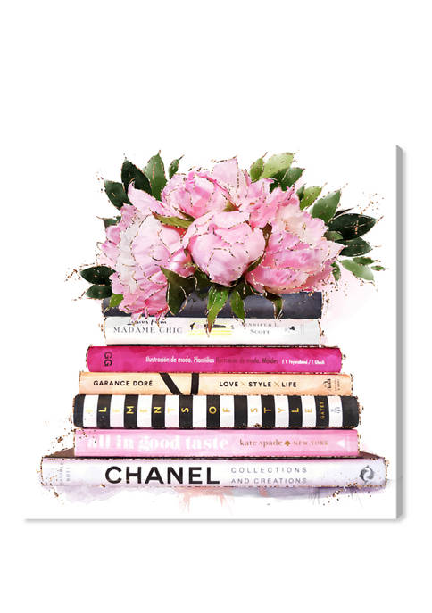 Pink Girlboss Books Fashion and Glam Wall Art Canvas Print