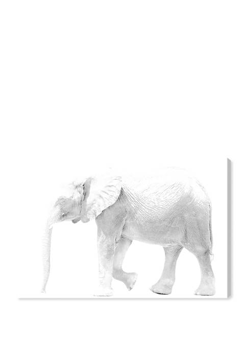 Oliver Gal Elephant Blanc Animals Wall Art Canvas
