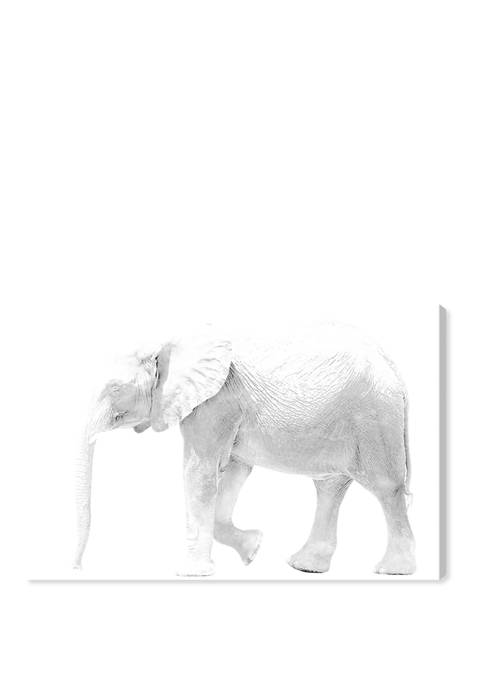 Oliver Gal Elephant Blanc Animals Wall Art Canvas