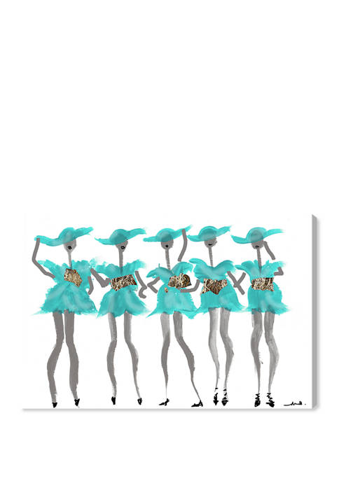 New York Blue Girls Fashion and Glam Wall Art Canvas Print