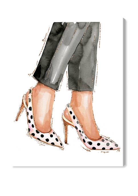 Glam and Polka Dot Shoes Fashion and Glam Wall Art Canvas Print