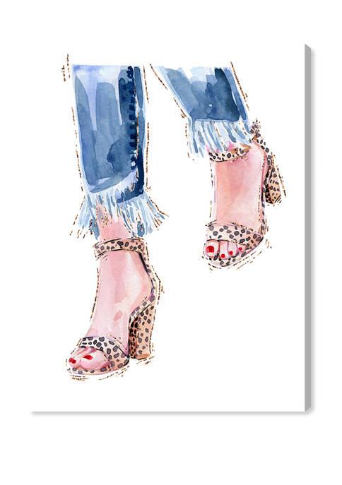 Denim and Cheetah Shoes Fashion and Glam Wall Art Canvas Print